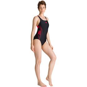 arena Fairness Swim Pro Back Traje Baño Una Pieza Mujer, black/fluo red